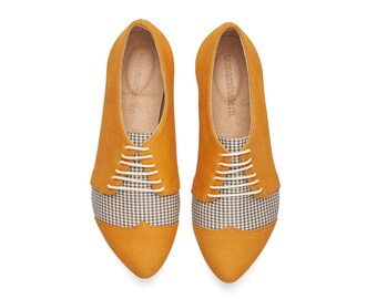 Yellow Pepita oxford shoes, Polly Jean flat leather womens shoes