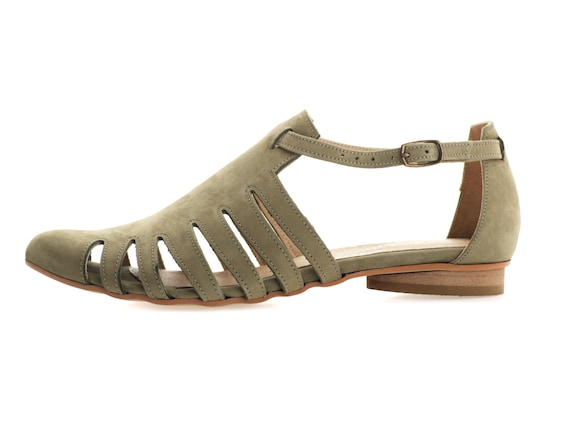 tamar on Sandals sandals shalem Sandals Flats etsy by Handmade Flat Leather Alice Olive xPUqz1
