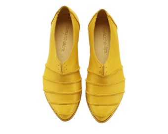 Yellow shoes, Michelle, yolk, handmade, flats, leather shoes, by Tamar Shalem on etsy
