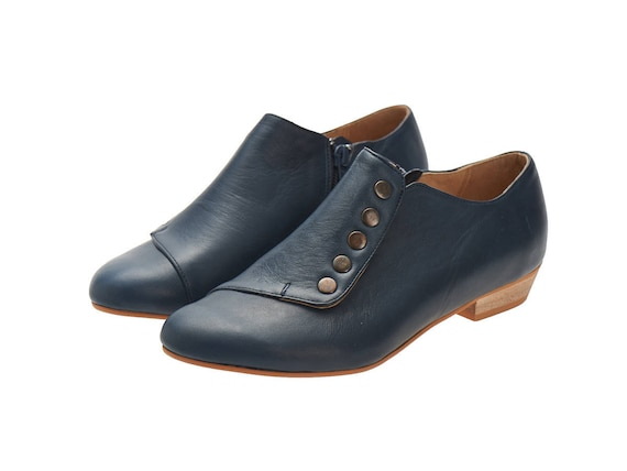 with zipper shoes a shoes leather navy side blue Grace Flat cq6YzBKTw4