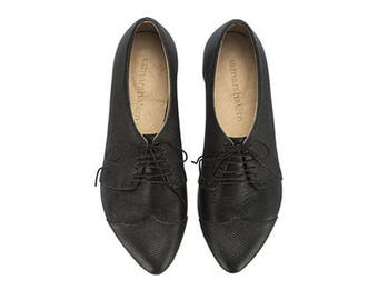 Black leather oxford shoes, Polly Jean, handmade leather shoes