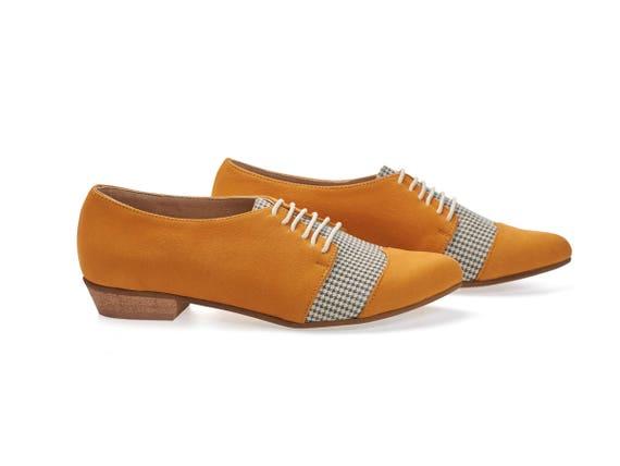 Jaune Pepita Chaussures plat Jean femmes en oxford Polly chaussures cuir en cuir ffxwBSrq