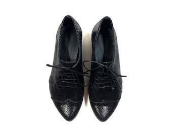 Black women's oxford shoes, Polly jean snake