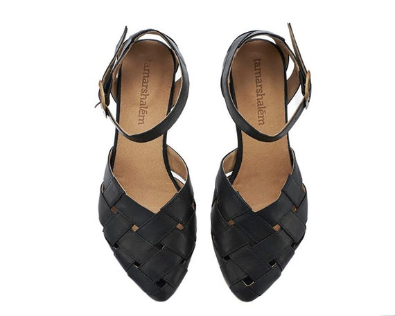 Sophie Sandals on handmade leather Leather Shalem etsy Tamar flats Sandals shoes by Black wtRZrqpxnw