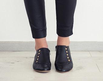 Grace Black handmade flat shoes   / leather shoes  by Tamar Shalem