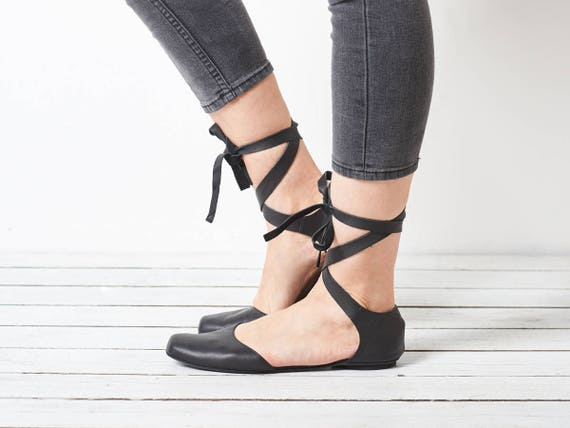 Black handmade Ana flats ballerina shoes leather Y1IwrY