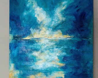 Abstract Original Acrylic Seascape Painting - A Glimmer in the Distance (2018) - 90 x 60 cm - Blue/Gold