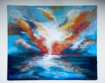 Original Oil Painting - Seascape - Canvas Board - 30 x 25.5 cm - Red/Blue/White