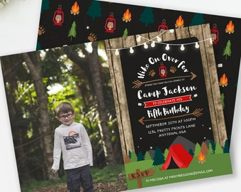 Camping Invitation, Photo Invitation, Camping Birthday, Boy Birthday Invite, Rustic Birthday, Camping Party, Sleepover Invite,  #73