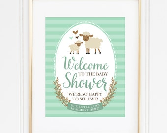 Lamb Welcome Sign, Baby Shower Welcome Sign, Gender Neutral Shower, Storybook Shower Decor, Mint Baby Shower, INSTANT DOWNLOAD, #2403