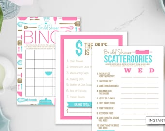 Kitchen Shower Games, 3 Pack Games, Bridal Bingo, Scattergories, Price Is Right, Stock The Kitchen, INSTANT DOWNLOAD, Pink Gold Teal,#20