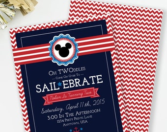 Sailebrate Birthday, Nautical Birthday Invitation, Mickey Inspired birthday, Oh Twoodles Invite, Nautical Party, Printable Invite, #60