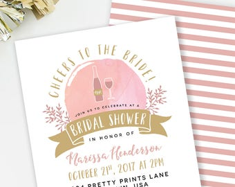 Wine Bridal Shower, Wine Invitation, Wine Tasting Invite, Cheers Bridal Invite, Wine and Cheese Invite, Cheers To The Bride, #22-1