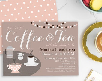 Coffee Invitation, Coffee Bridal Shower, Tea with the Bride, Bridal Brunch, Bridal Tea Invitation, Brunch Invitation, Printable Invite, #32
