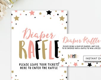 Diaper Raffle Ticket, Star Baby Shower, Girl Shower Game, Diaper Shower, Little Star Shower, Baby Shower Game,  INSTANT DOWNLOAD, #B4