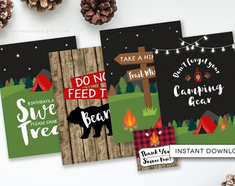 Camping Party Signs, Trail Mix Bar Sign, Camping Birthday, Lumberjack Birthday, Feed The Bears Sign, S'mores Favor Tag, INSTANT DOWNLOAD,#73