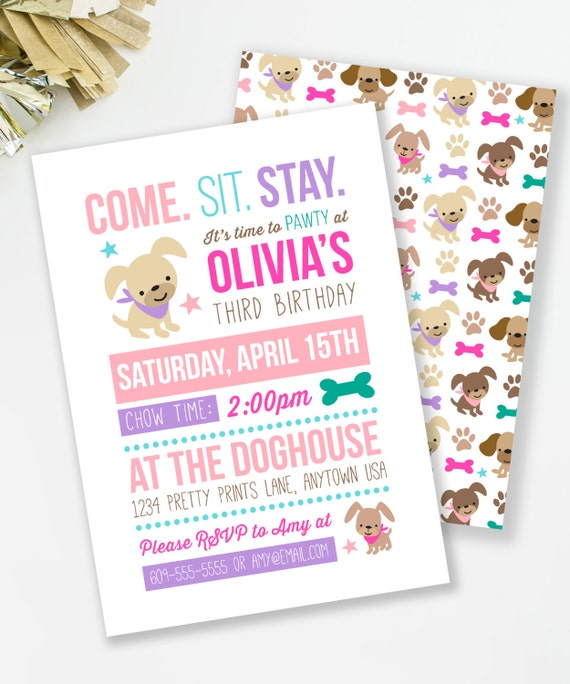Puppy Birthday Invitation Pawty Girl Party Dog Invite Girls Printable 48