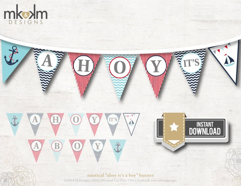 Nautical Baby Shower Banner Ahoy It S A Boy Banner Red Etsy