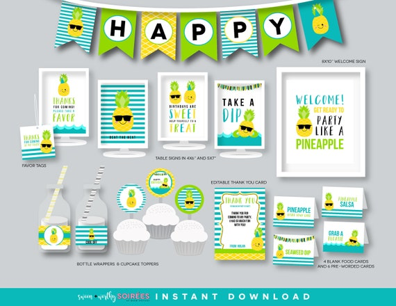 Pineapple Tropical Blue Yellow Hawaiian Banner Signs Cupcake Toppers etc. Favor Tags Matching Items Available