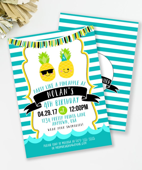 Pineapple Invitation Luau Birthday Boys Party Pool Invite 75