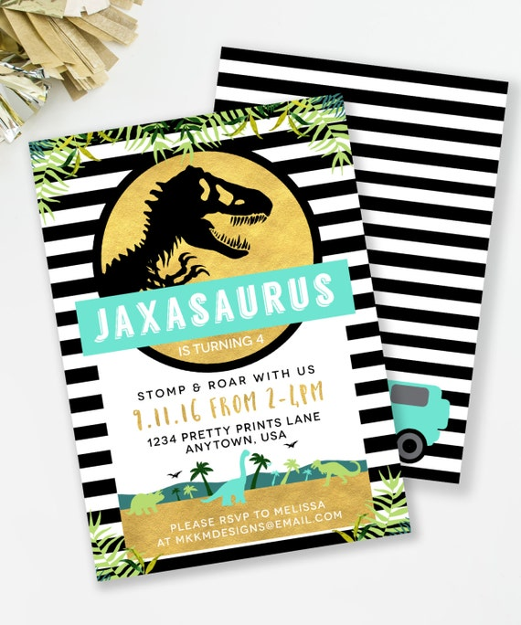 Jurassic Birthday Invitation Dinosaur Party Boys TREX Invite