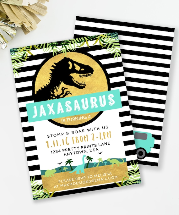 Jurassic Birthday Invitation Dinosaur Party Boys TREX Invite Park Inspired Printable 71
