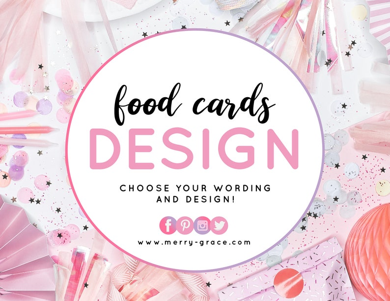 Made To Match Food Cards Custom Wording or Design for Food image 0