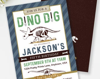 Paleontologist Party, Dinosaur Party, Dino Dig Invite, Dinosaur Invitation, Dinosaur Bone Invite, Dinosaur Printable, Boys Birthday, #40-2