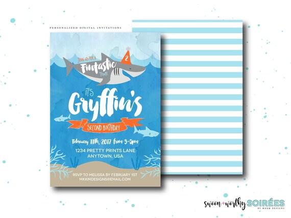 Shark Birthday Invitation Fintastic Party Boy Nautical Invite Pool Girl Invite72