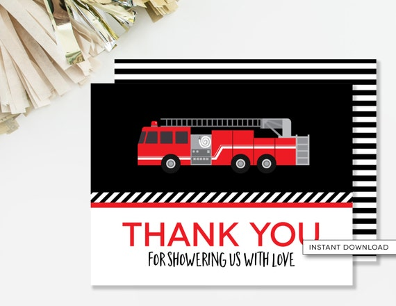 Firetruck Thank You Card, Sound The Alarm Baby Shower, INSTANT