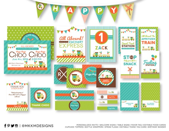 train birthday party kit choo choo party train invite etsy