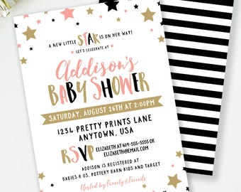 Star Baby Shower Invite, Star Invitation, Girl Baby Shower, Little Star Shower, Couples Shower, Black and Gold, Printable Invitation #B4