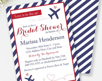 Travel Bridal Shower Invitation, Love Is In The Air, Airplane Bridal Invite, Red and Blue Bridal Shower, Couples Shower, Digital Invite, #31