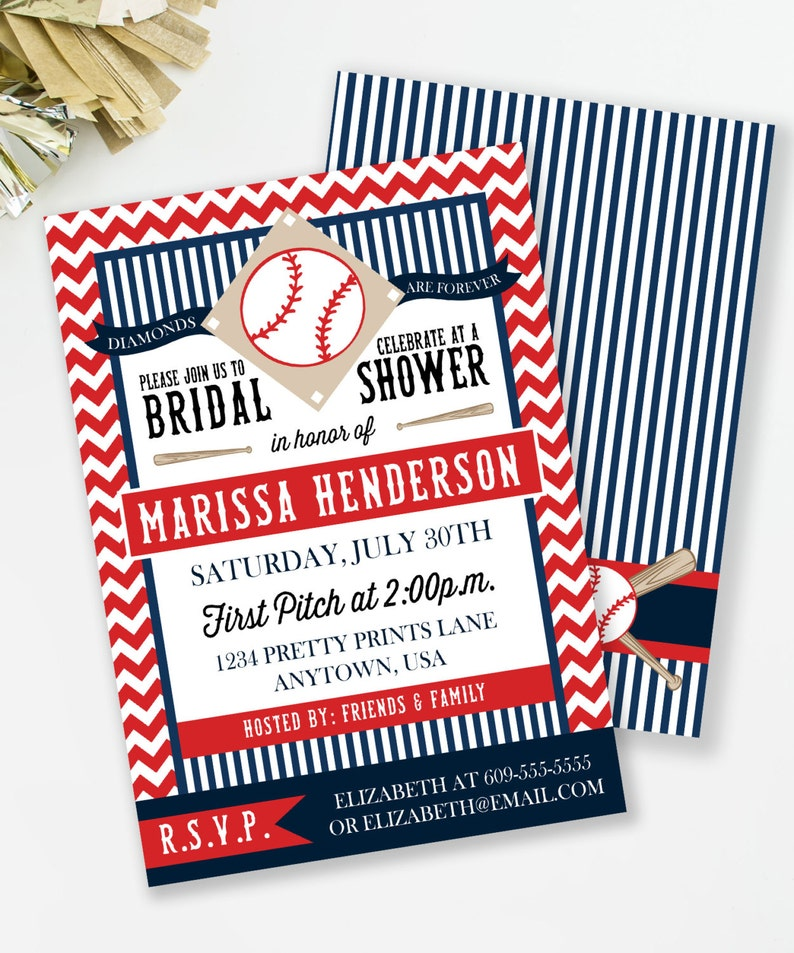 Baseball Bridal Shower Baseball Invitation Diamonds Are Etsy