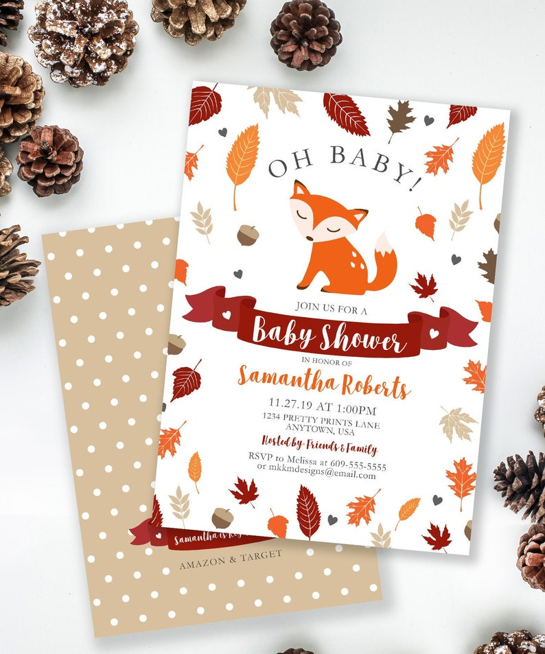 Fox Baby Shower Invitation Woodland Baby Shower Rustic Baby image 0