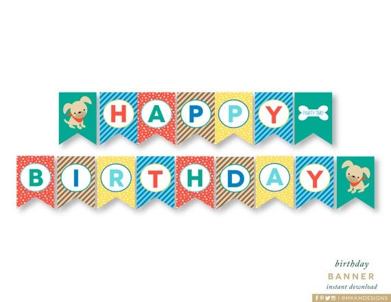 Happy Birthday Banner Puppy Pawty Dog