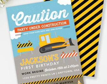 Construction Birthday Invitation, Boy Birthday Invite, Dump Truck Birthday, Construction Party, Construction Invite, Printable Invite, #45