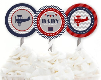 Airplane Cupcake Toppers, Airplane Baby Shower, Travel Baby Shower, Rustic Baby Shower, Red and Navy Baby Shower, INSTANT DOWNLOAD, #A1