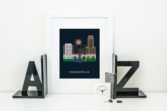 Minneapolis City Print Art Twin Cities Skyline Home Decor