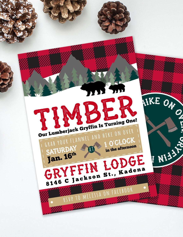 Lumberjack Invite Boys Birthday Party Rustic Birthday | Etsy