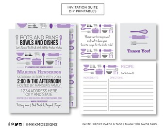 Stock The Kitchen Bridal Shower Invitation Suite, Recipe Card and Insert, Thank You Favor Tag, Purple and Gray Shower, Printable Invite, #20