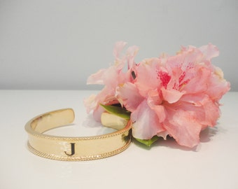 Gold Initial Cuff Personalized Cuff Stackable Bracelet Gold Plated Bracelet Bridesmaid gift Birthday Gift Unique Gift