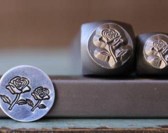 SUPPLY GUY 8mm Rose Flower Metal Punch Design Stamp SGCH-162
