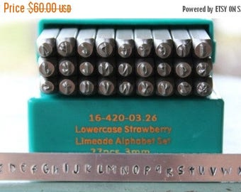 Sale 3mm Strawberry Limeade Font Alphabet Letter Lowercase Stamp Set- 3MM Lowercase Jewelry Metal Stamps- SGCH-STRAWL3Mm
