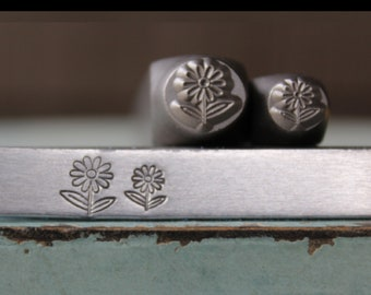 Brand New 8mm and 6mm Daisy Flower Metal Design 2 Stamp Set - Metal Stamp - Metal Stamping and Jewelry Tool - SGCH-433432