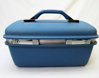 f836484a0 Samsonite Train Case hard side vintage Suitcase 1970s blue small carry-on  bag 1960s Royal Traveler Montbello luggage
