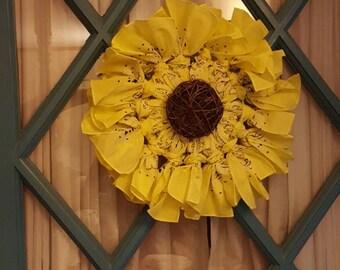 Large Sunflower Bandana Wreath - Made to Order