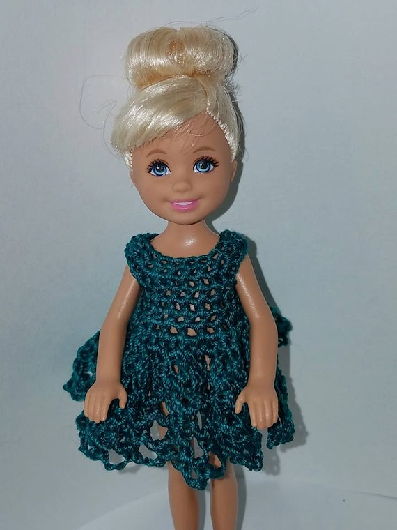 Hand crocheted Chelsea//Kelly Mattel doll clothes Jade Blue