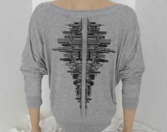 Skyline - Off the Shoulder - Yoga, Dance Sweater Grey