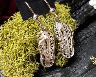 Silver Weaving Filet Crochet Earrings, Persian Slippers.